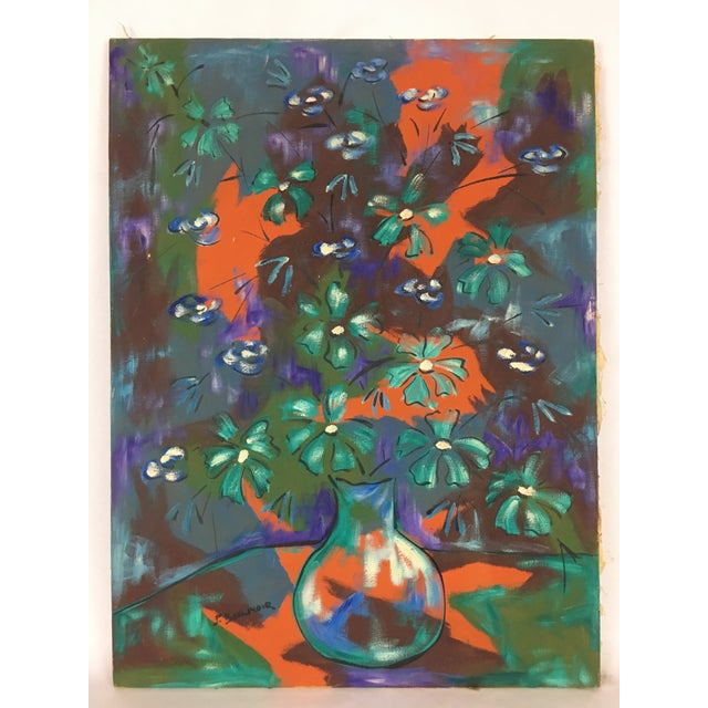 1960s Vintage Original Haitian Floral Still Life Oil Painting by Listed Artist Paul Beauvoir For Sale - Image 13 of 13