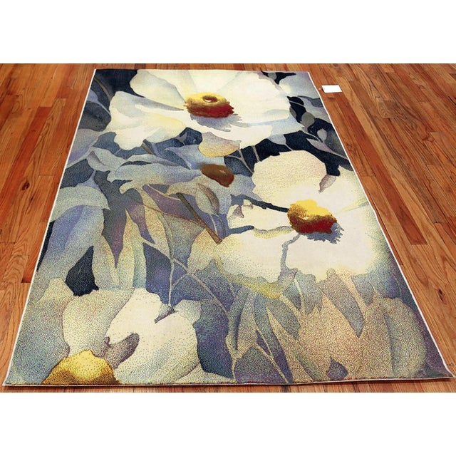 Mid-Century Modern Vintage Georgia O'Keeffe Art Rug- 5′2″ × 7′4″ For Sale - Image 3 of 6
