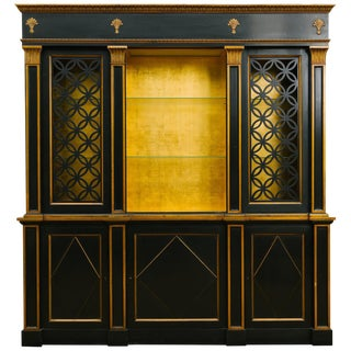1950s Painted Classical Display Cabinet With Gold Leaf Interior For Sale