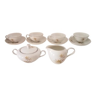 Japanese Harmony House Fine China Federal Gold Platinum Trim Sunny Glade Pattern Coffee Set - 11 Pieces For Sale