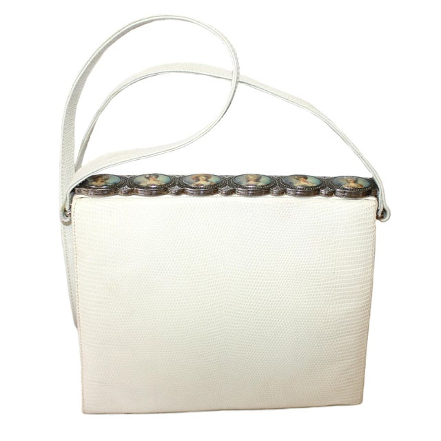 1960s White Lizard Purse With Portrait Frame For Sale In Los Angeles - Image 6 of 6