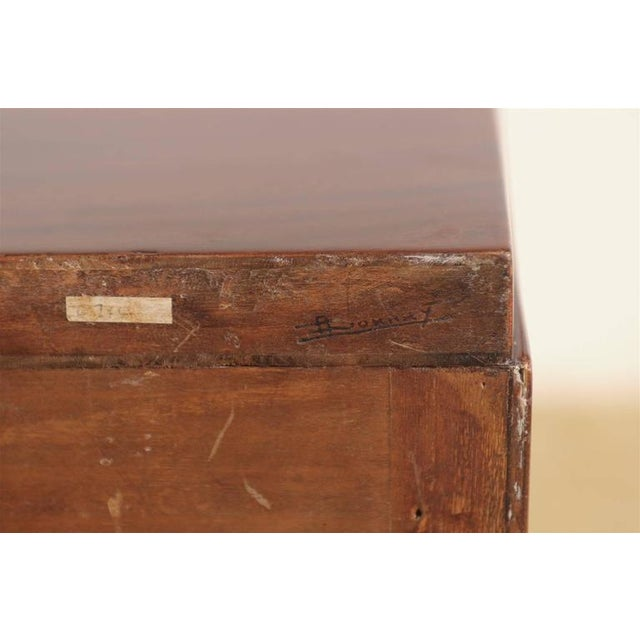 Signed Andre Sornay Chest in Ribbon Mahogany and Brass For Sale - Image 9 of 11