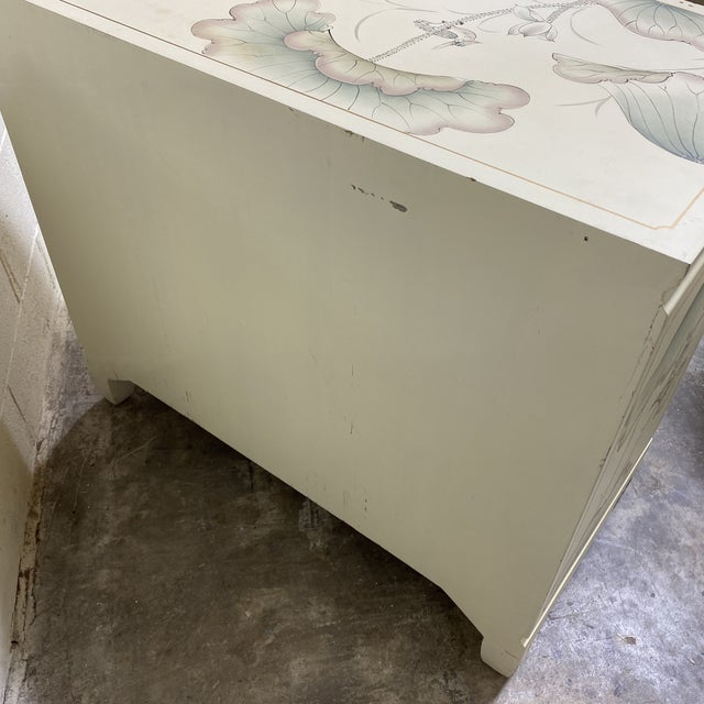 Hand Painted Asian Style Chest With Matching Mirror For Sale - Image 11 of 12