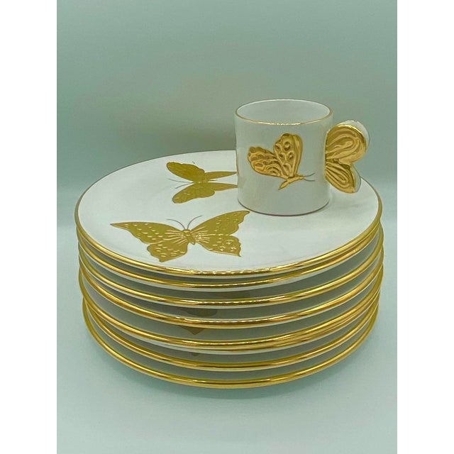 Vintage Hollywood Regency Carole Stupell Golden Butterfly Luncheon Plate and Cups - Set of 8 For Sale - Image 10 of 12