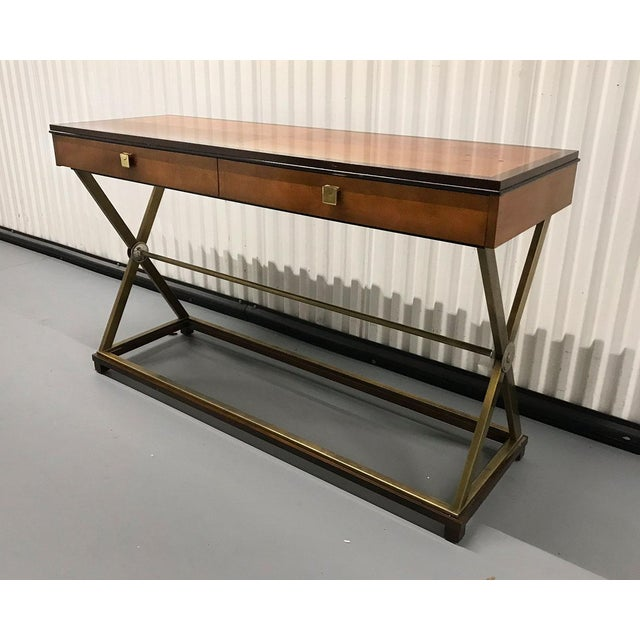 Hickory White Vintage Hickory-White Burl and Brass Console For Sale - Image 4 of 12