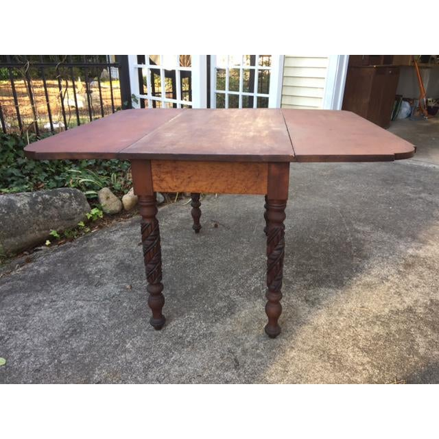 Antique Carved Leg Drop Leaf Dining Table For Sale - Image 4 of 5
