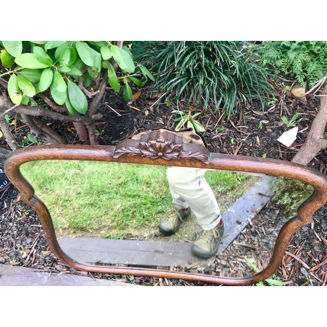 Early 1900's Curved Wooden Wall Mirror For Sale - Image 10 of 12
