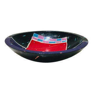 Judy Lichtenstein Memphis Style Painted Bowl For Sale