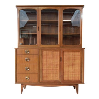 Mid-Century Modern Woven Front Mahogany Dining Cabinet by Landstrom For Sale