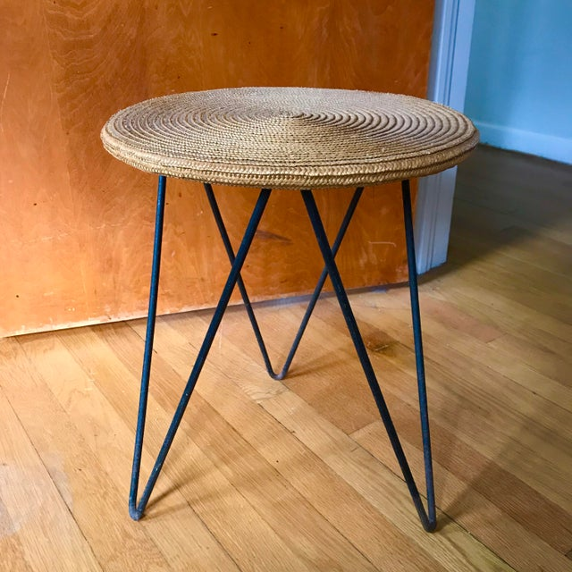 Metal Mid Century Woven Accent Table For Sale - Image 7 of 7