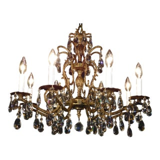 Vintage French Brass Bronze Cut Lead Crystal Double Pineapple Chandelier 2 Avail For Sale