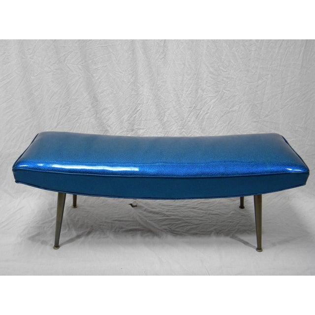 Mid-Century Modern Royal Blue Vinyl Bench - Image 3 of 5