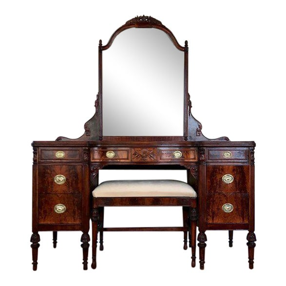 1920s Antique Landstrom Furniture Vanity with Mirror & Bench - Set of 3 - Image 1 of 11