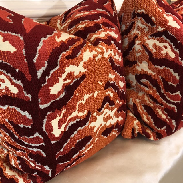 Woven Tiger Print Pillows - A Pair For Sale - Image 4 of 6