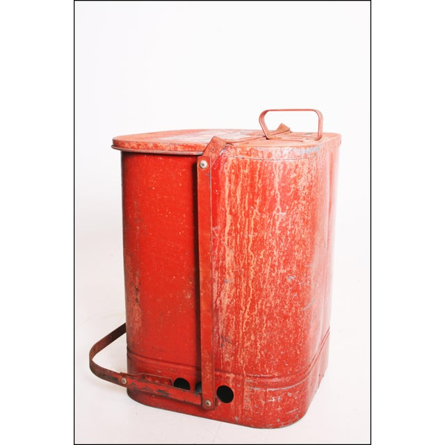 Vintage Industrial Red Metal Trash Can with Flip Top Lid For Sale - Image 5 of 11