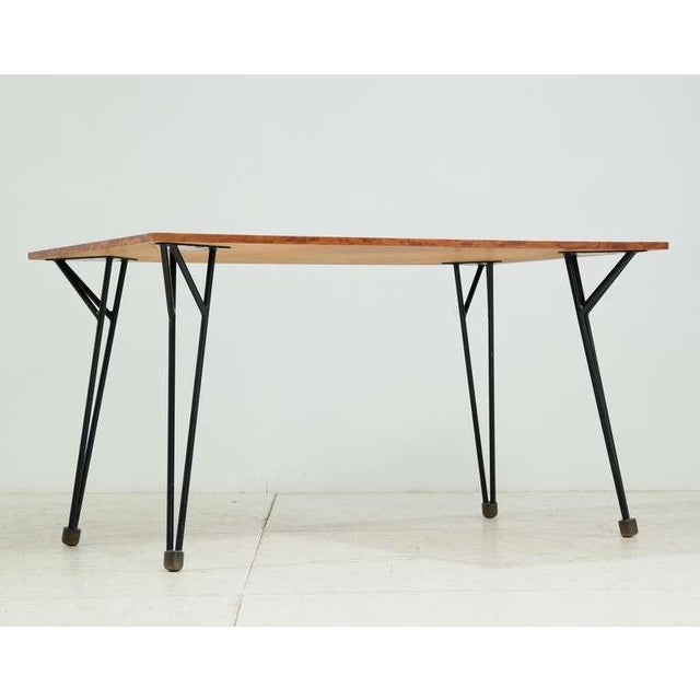 A rare Alfred Hendrickx work desk or dining table, designed circa 1958 and produced by Belform, Belgium. The top is made...