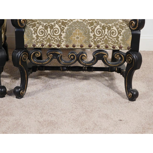 Ebony Maitland Smith William & Mary Ebony W Gold Gilt Accents Fireside Arm Chairs - a Pair For Sale - Image 8 of 13