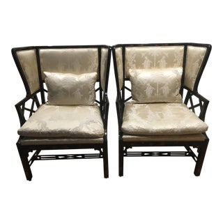 Pineo Chinese Chippendale Wingback Chairs - A Pair