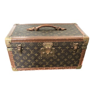 1980s French Louis Vuitton Canvas and Leather Train Case For Sale