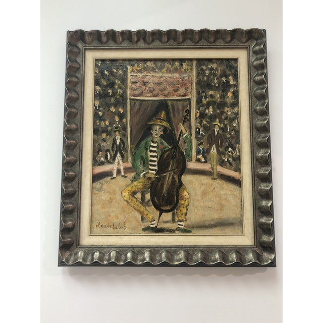 Custom framed in silver. Known French Artist Claude Tabet.