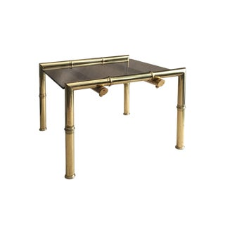 1970s French Square Brass Bamboo Side Table With Floating Bronze Glass Top For Sale
