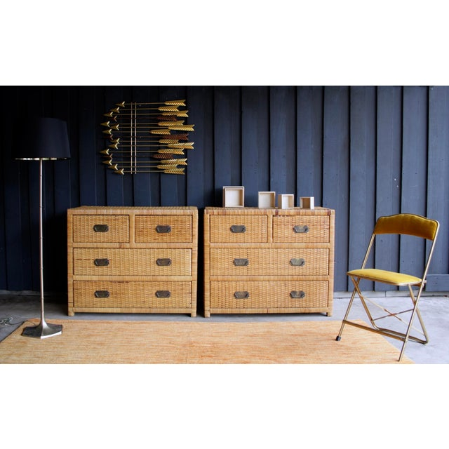 Fabulous wicker wrapped bachelor chest, with four drawers, bronze campaign-style pulls and protective glass top (not...