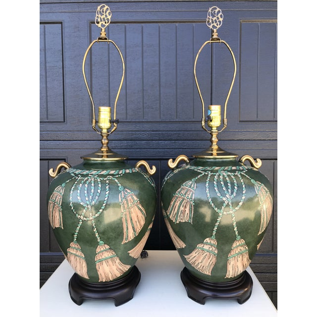 Vintage Hand Painted Tassel and Rope Lamps-A Pair For Sale - Image 13 of 13