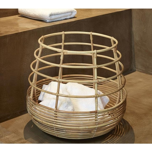 Mid-Century Modern Cane-Line Sweep Basket, Round For Sale - Image 3 of 8