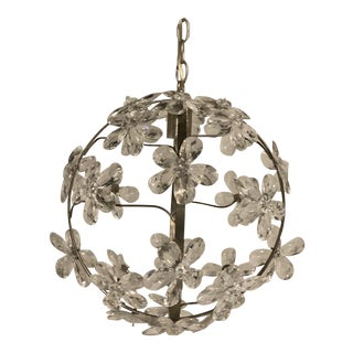 1930s French Silver Plated Crystal Flower Light Fixture For Sale