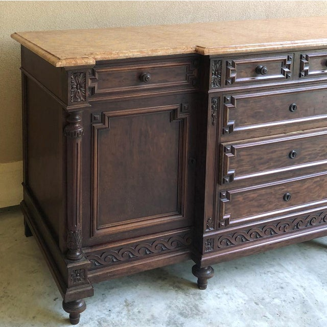 19th Century French Louis XVI Mueche Mahogany Marble Top Dresser ~ Cabinet For Sale - Image 4 of 13