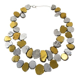 Lucas Lameth Brutalist Marble Stone and Gilt Silver Metal Multi-Strand Necklace For Sale