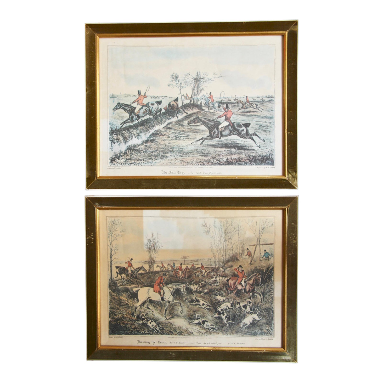 English Fox Hunt Prints in Velvet Lined Frames - a Pair | Chairish