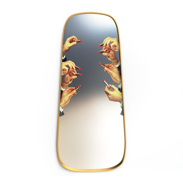 Mirror, brass foil covered MDF Seletti has focused on contemporary design as cultural comment since its founding in 1964....