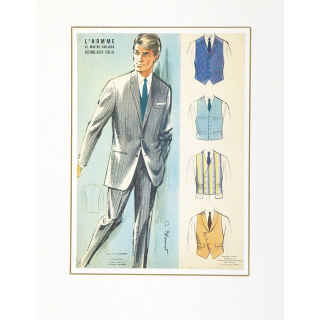 French Vintage Men's Suit Advertisement, 1965 For Sale - Image 3 of 3
