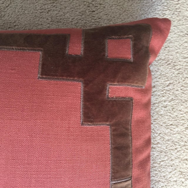 This wonderful burnt orange/bittersweet linen pillow features a trellis design velvet appliqué, invisible zipper and...