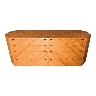 Vintage Split-Reed Bamboo Dresser Chest For Sale