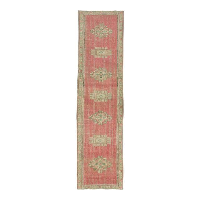 Vintage Decorative Turkish Oushak Runner Rug - 2′8″ × 10′3″ For Sale