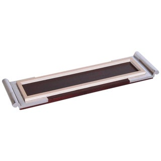 Art Deco Machine Age Asprey Drinks Tray in Mahogany/Ivory Lacquer/Chrome