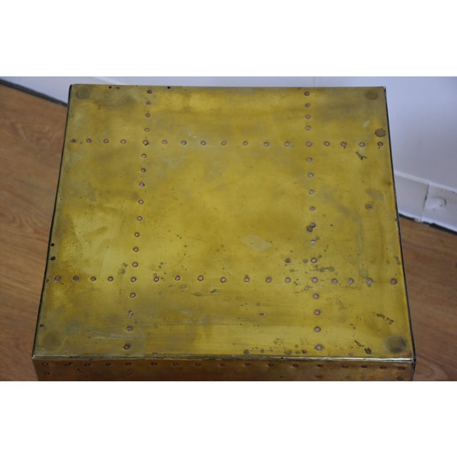 Sarreid Brass Cube End Table - Image 4 of 8