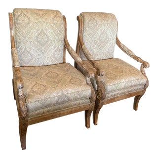 1990s Carved Arm Chairs - a Pair For Sale