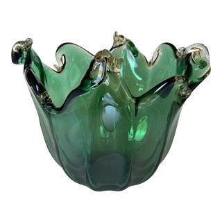 Emerald Green Murano Glass Bowl For Sale