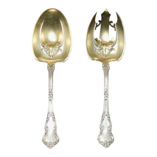 Antique Sterling Silver Serving Utensils with Gold Wash Bowls Circa 1900 For Sale