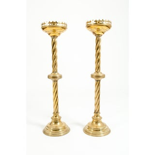 Tall Decorative 19th Century Gothic Style Brass Candlesticks - a Pair Preview