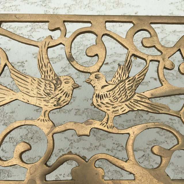 Mid-Century Solid Brass Bird Motif Plant Stand - Image 10 of 11