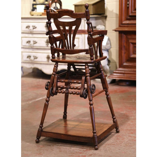 Wood Mid-20th Century French Carved Folding Up and Down Child High Chair on Wheels For Sale - Image 7 of 13