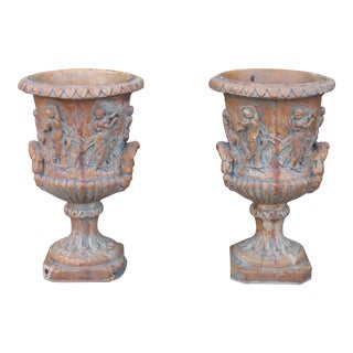 Vintage Carved Urn Planters - a Pair For Sale