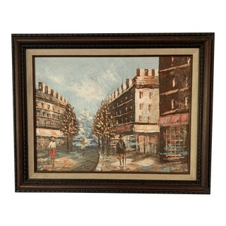 Impressionistic Street Scene Original Oil Painting by Andy Craig For Sale