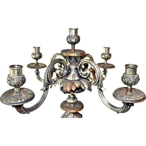 French Antique French Bronze Candelabra - A Pair For Sale - Image 3 of 6