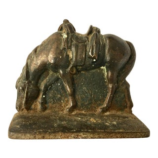 Old Cast Western Saddle Horse Bookend