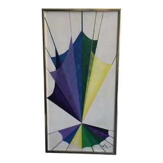 Vintage 1970s Geometric Abstract Painting
